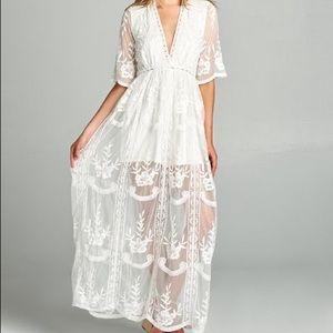 White Maxi Dress Romper Lace Long Deep V Bohemian